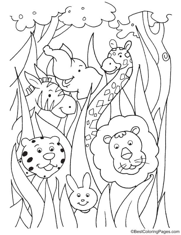 Animals in the bushes coloring page