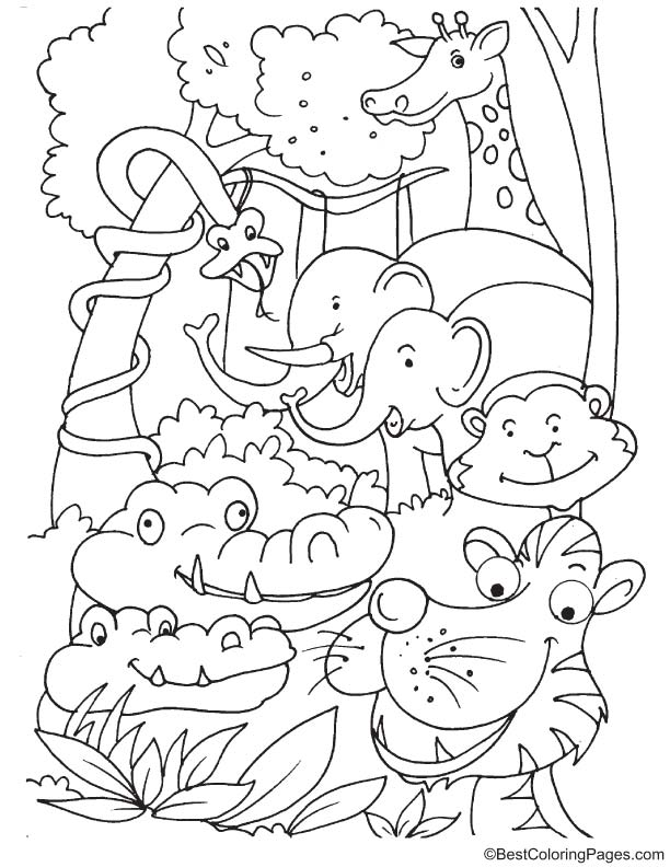 Animals laughing coloring page