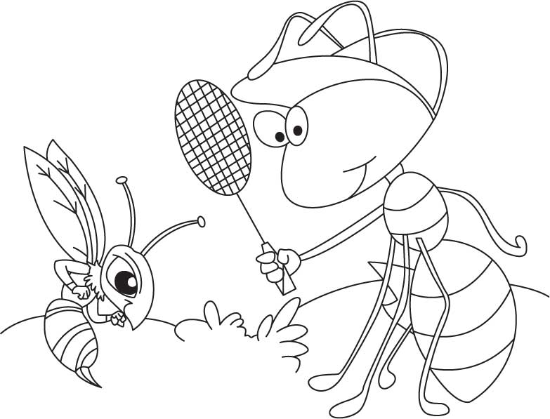 Ant And Mosquito Coloring Page