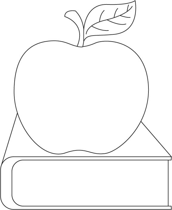 Apple and book coloring page