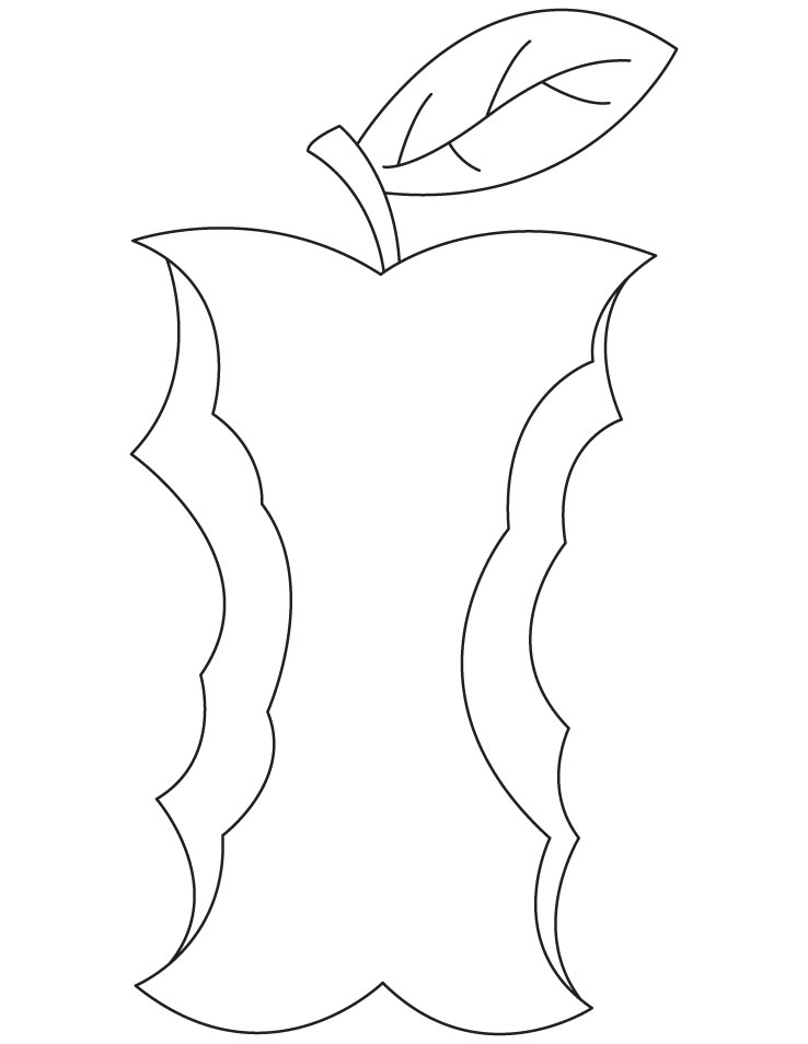 Nibbled Apple Coloring Page