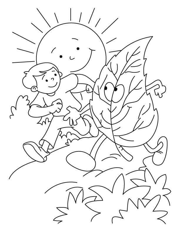 Boy racing with the leaf coloring pages