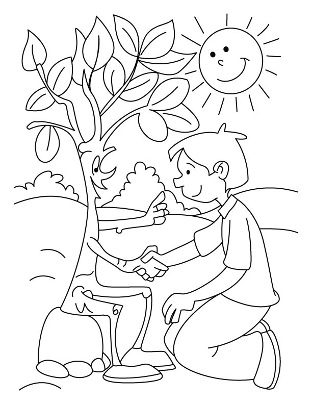 Shaking hand with tree coloring pages