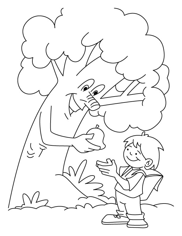 Tree giving the fruit to a boy coloring pages