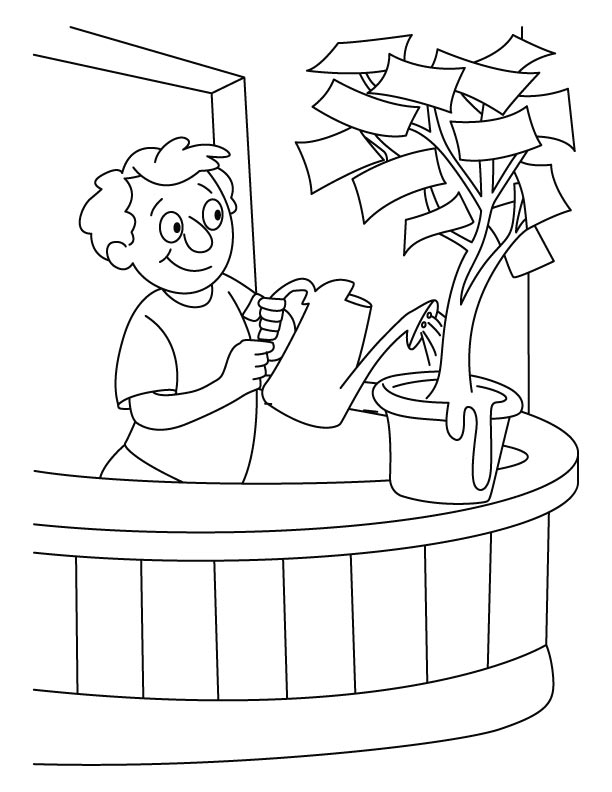 A boy giving water in the money plant coloring pages | Download ...
