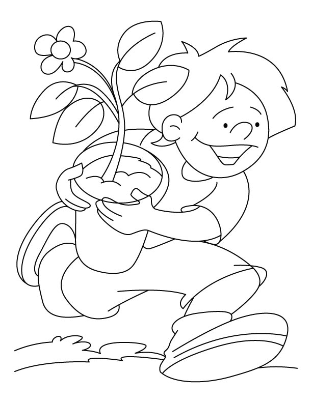 A Boy Running With Plant On Arbor Day Coloring Pages