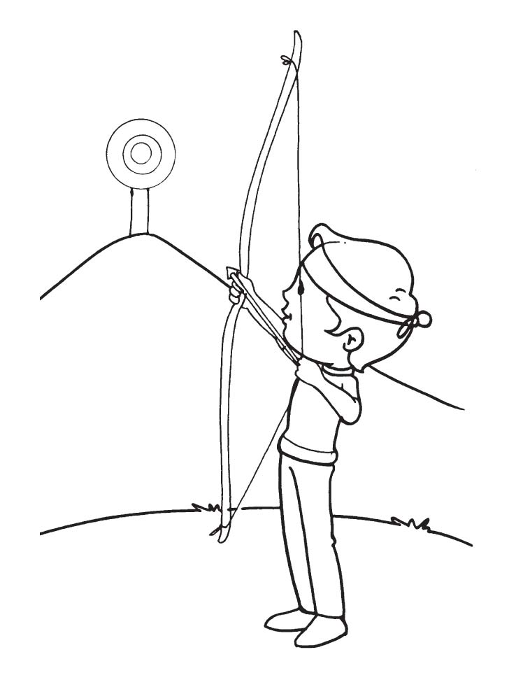 Archer Practice At High Target Coloring Page