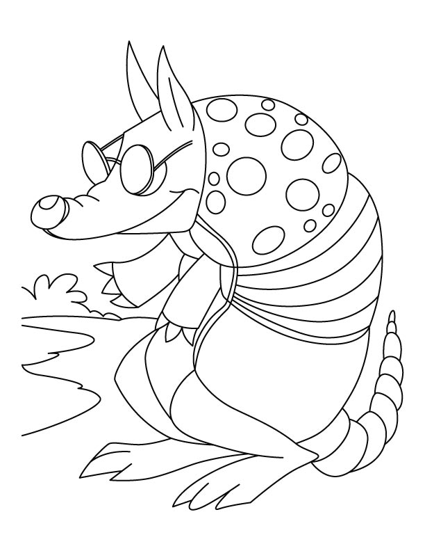 Armadillo feeling cold coloring pages