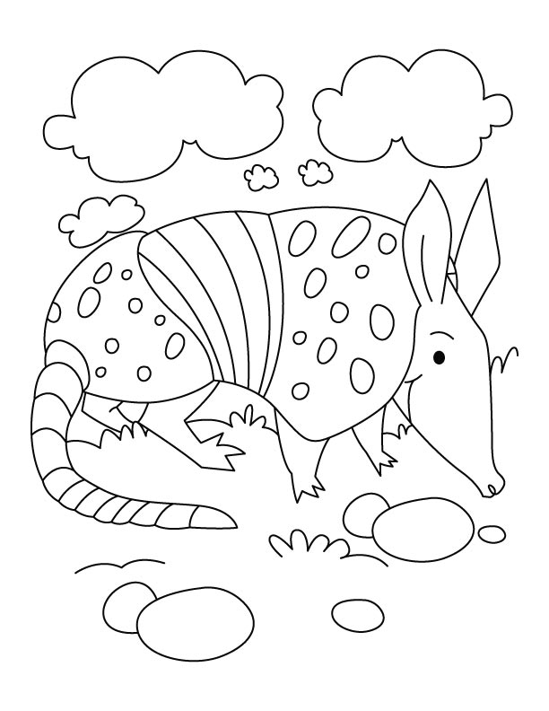 Armadillo at cloud seven coloring pages