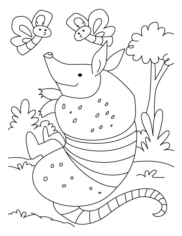 Armadillo playing with flies coloring pages