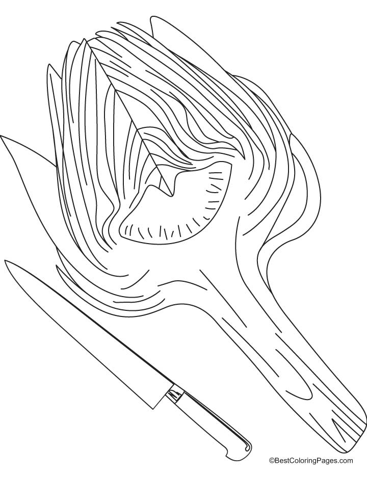 Artichoke with knife coloring pages