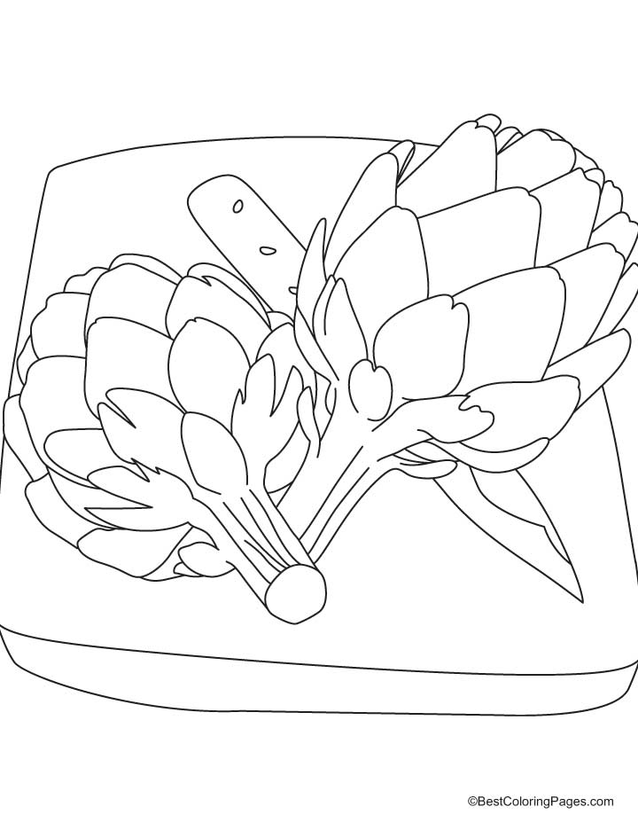artichoke on cutting board coloring pages