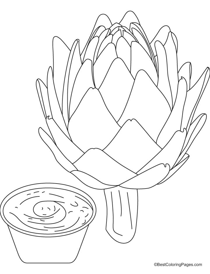 Artichoke with dipping sauce coloring pages