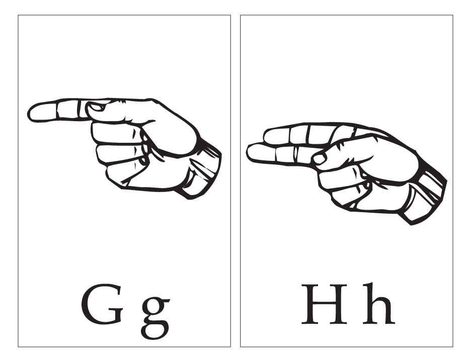 asl with capital and small letter gg hh page