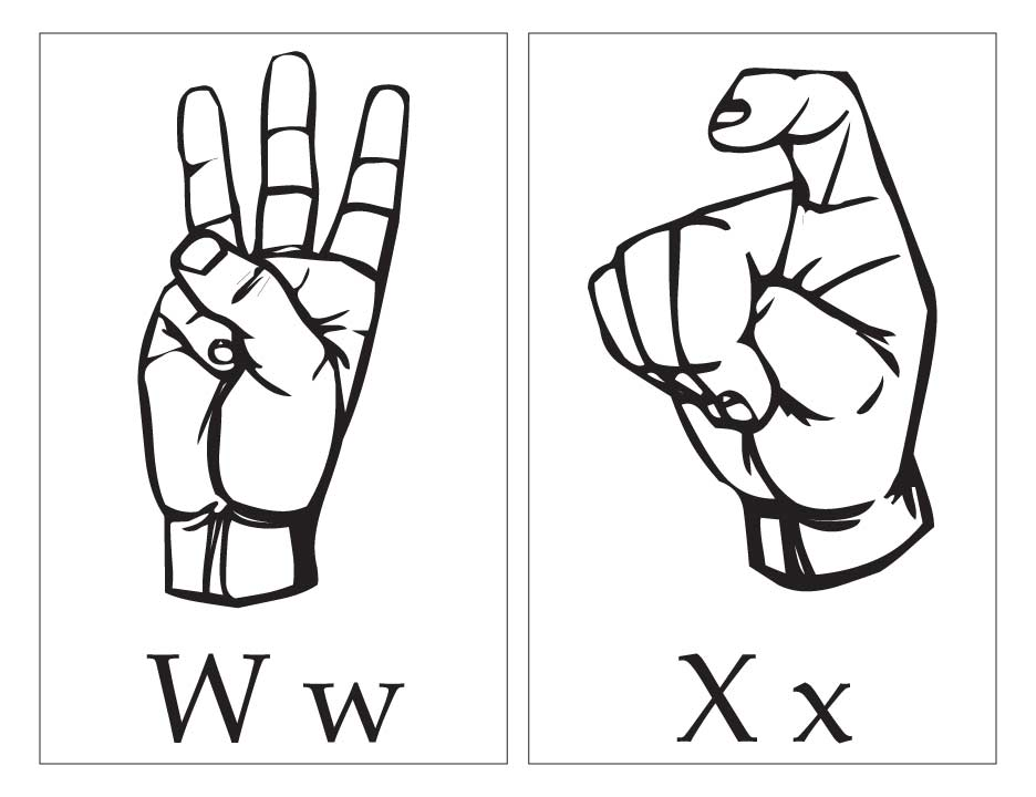 ASL with capital and small letter Ww Xx Download Free ASL with