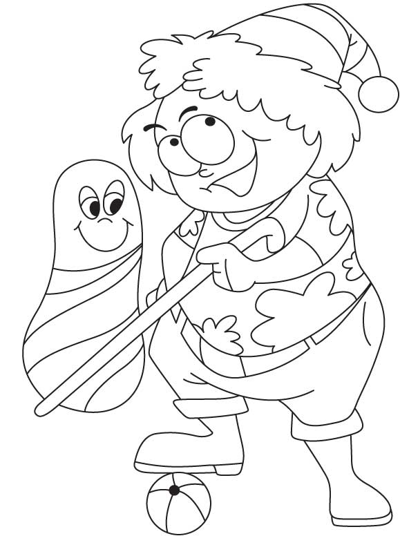 Aunty playing with doll coloring page