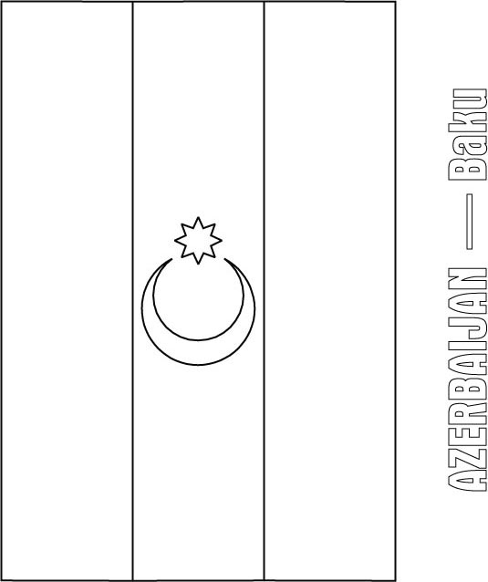 Azerbaijan Flag Coloring Page