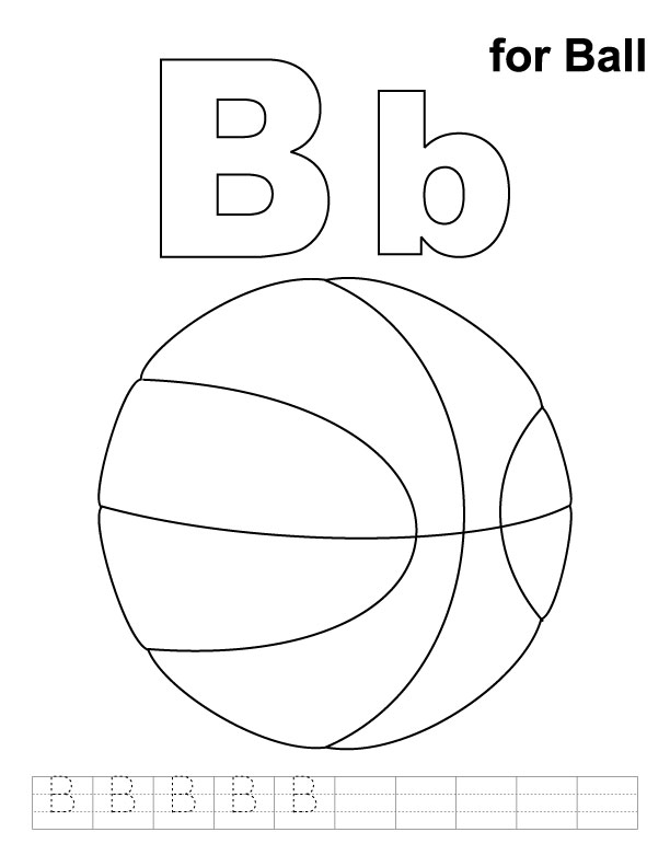 Letter B Coloring Pages For Preschoolers : Letter b ball colouring pages