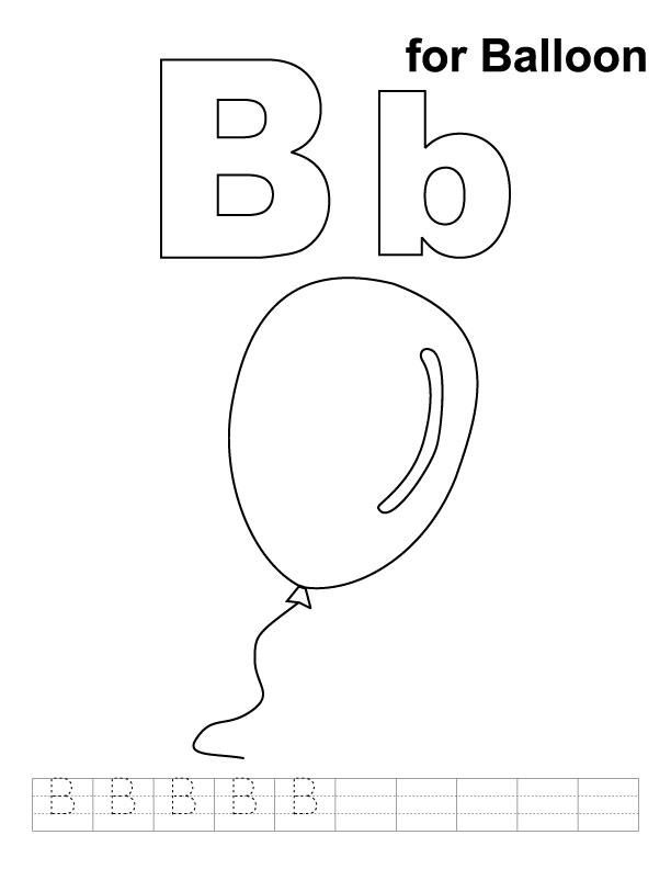 B for balloon coloring page with handwriting practice