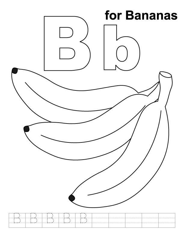 b for ball coloring page - b for bananas coloring page with handwriting practice