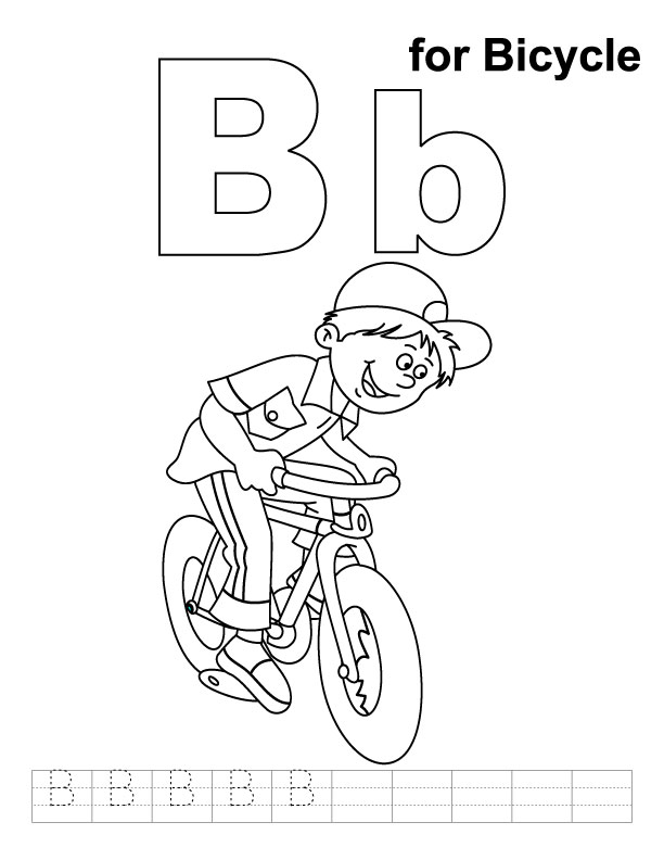 B for bicycle coloring page with handwriting practice