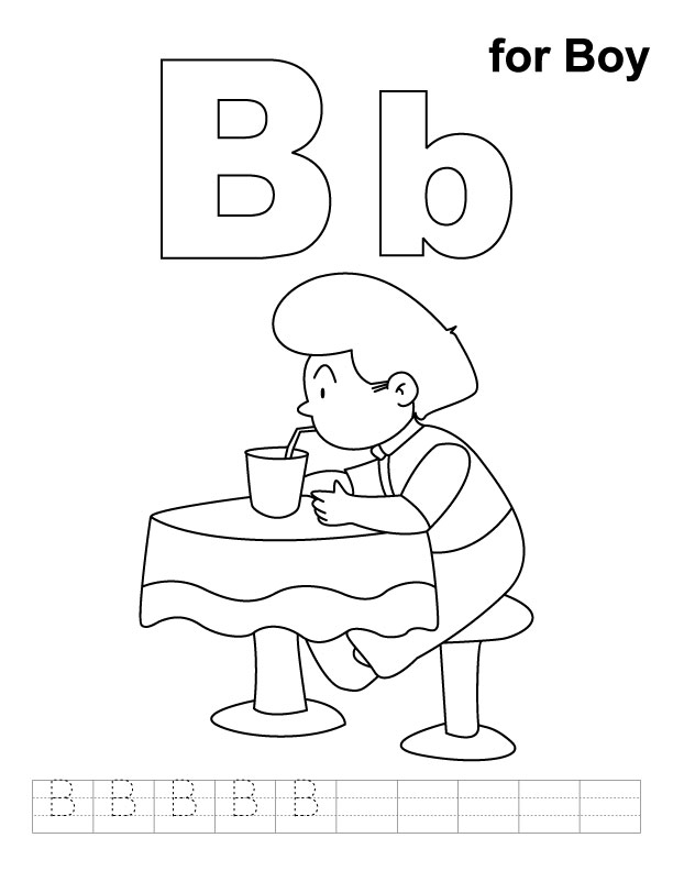 B for boy coloring page with handwriting practice