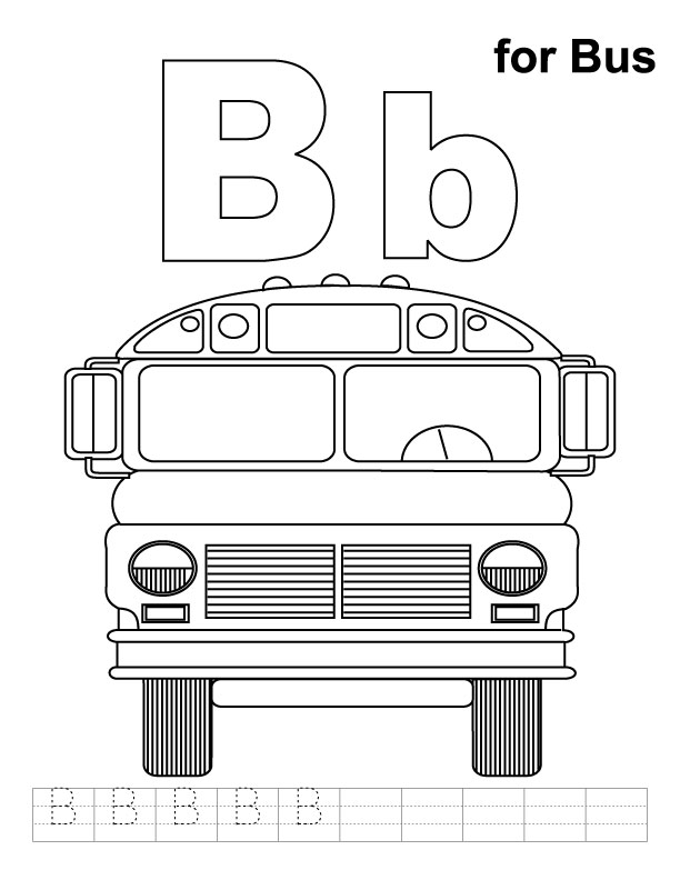 B For Bus Coloring Page With Handwriting Practice