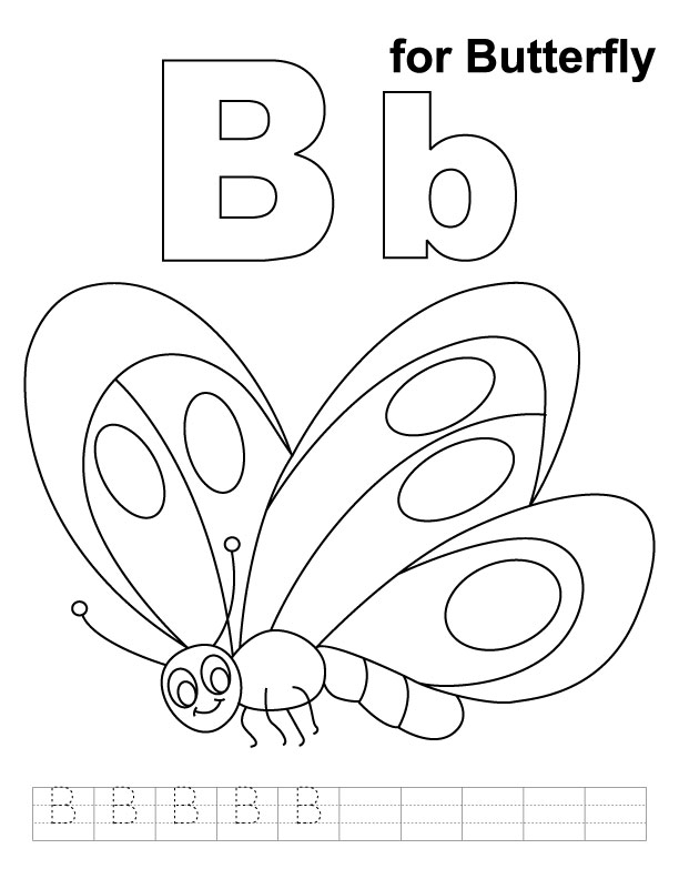 b for butterfly coloring pages - photo#1