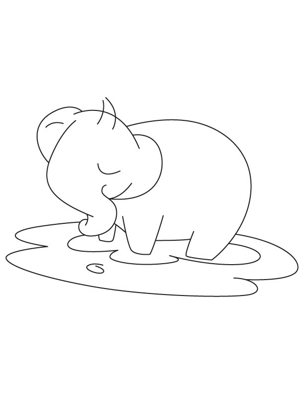 Baby elephant in mud coloring page