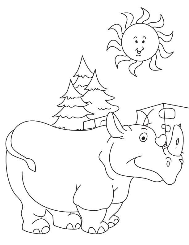 Baby rhinoceros feeling hot coloring page
