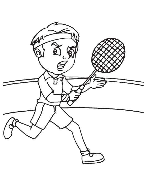 Badminton player running coloring page download free for Badminton coloring pages