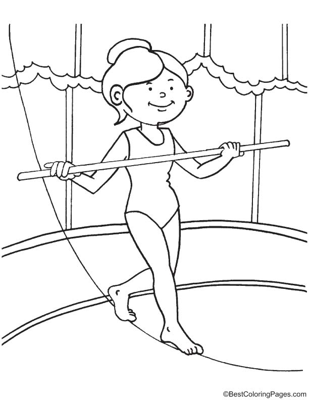 Balance on the rope coloring page
