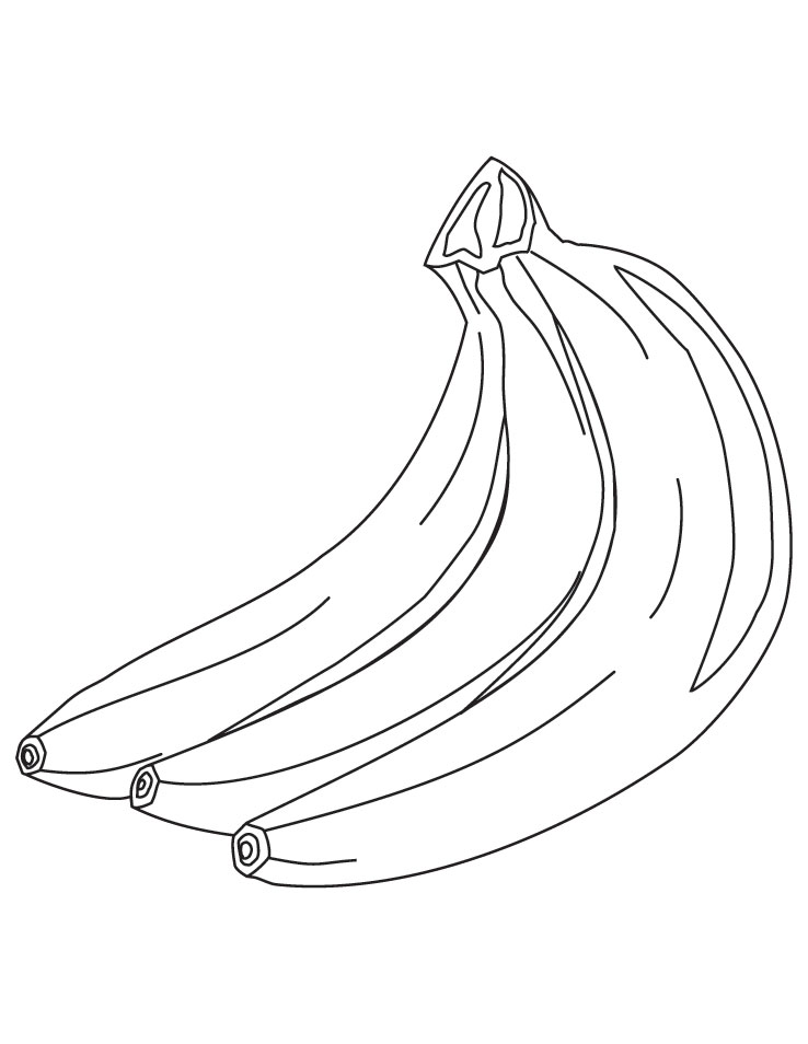 Three banana coloring pages Download Free Three banana coloring