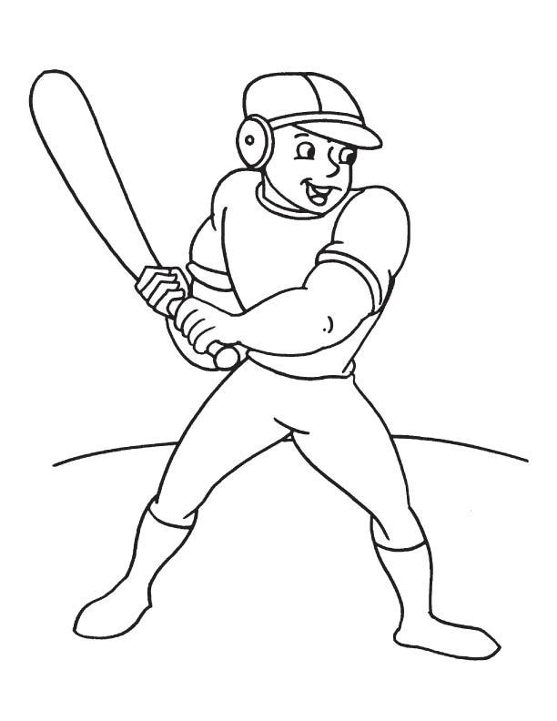 Baseball batsman coloring page