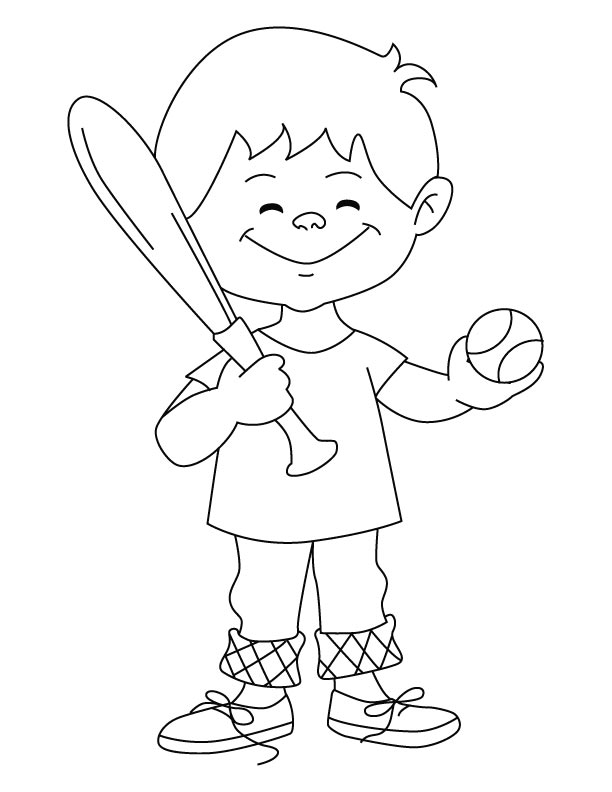 Baseball Boy Coloring Page