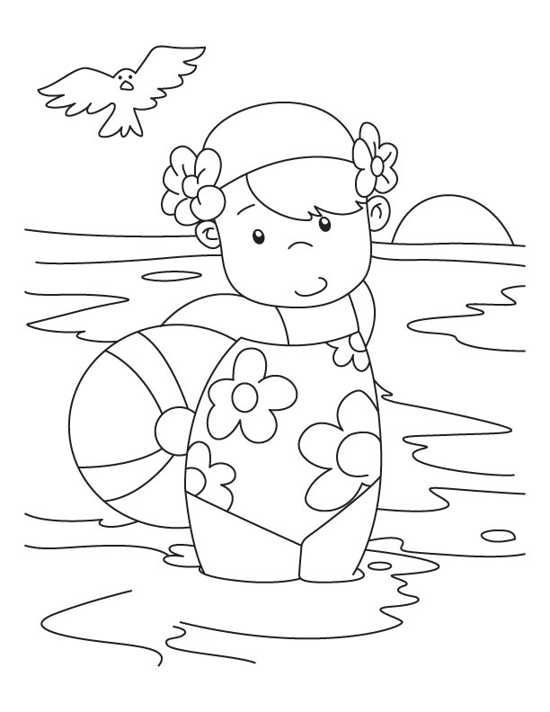 A Girl With A Beach Ball Coloring Pages Download Free A Girl Swimming Coloring Pages