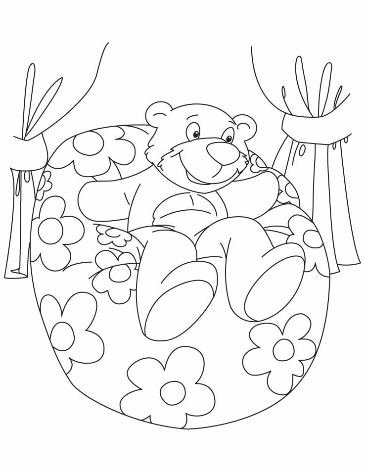 Bear sitting on a bean bag coloring pages