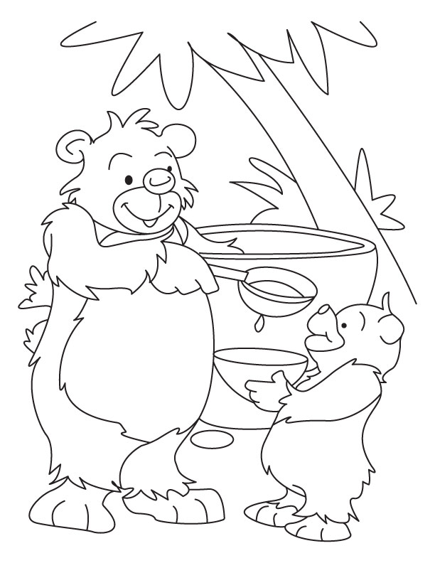 Bear and Cub eating honey coloring page