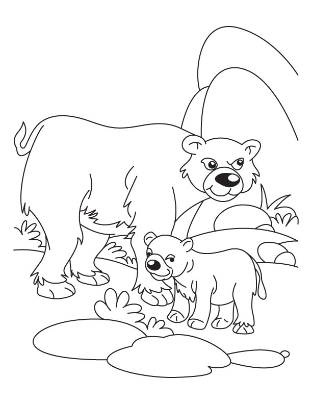 Cub With His Father Bear Waiting For Mother Coloring Page