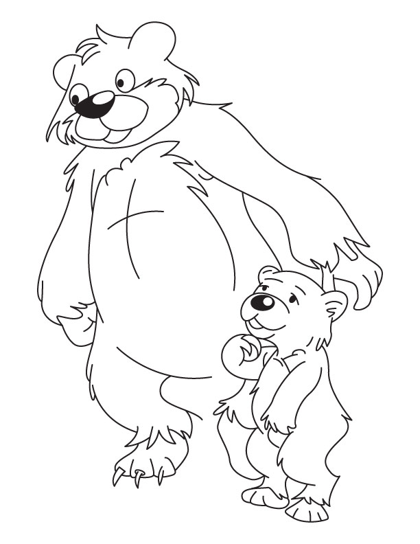 Bear And Cub Coloring Page