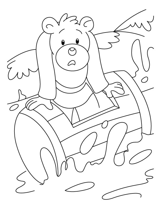 Bear struck in waves coloring pages