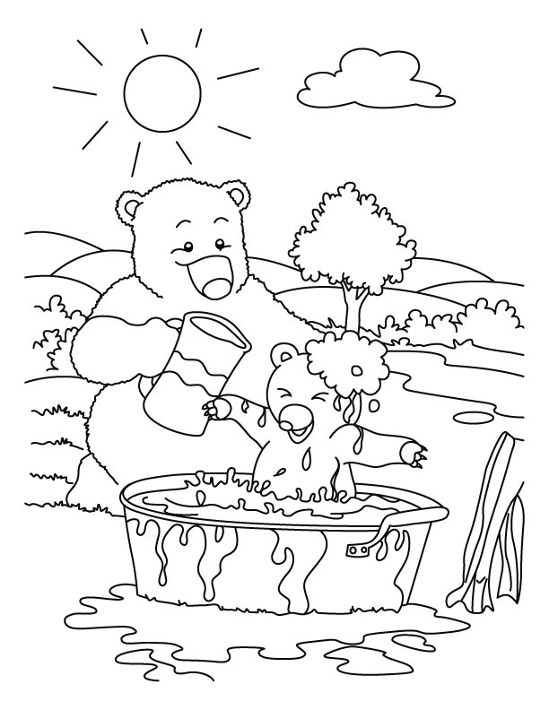 Mother bathe bear child coloring pages