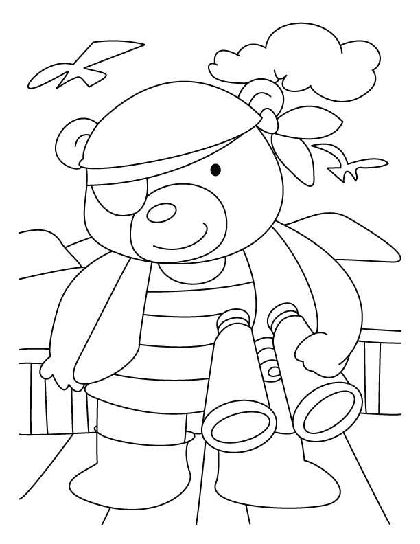 Detective bear coloring pages