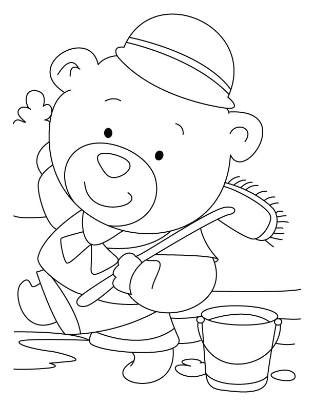 Bear servant-mops better coloring pages