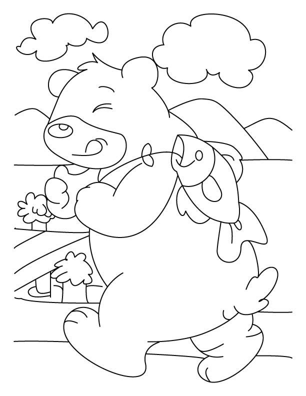 Fish disturbing bear coloring pages