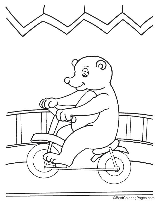 Bear cycling coloring page