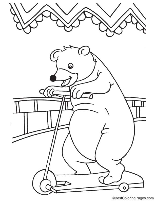 Bear riding on scooter coloring page