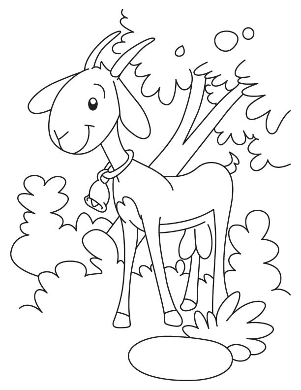 Bell goat coloring page