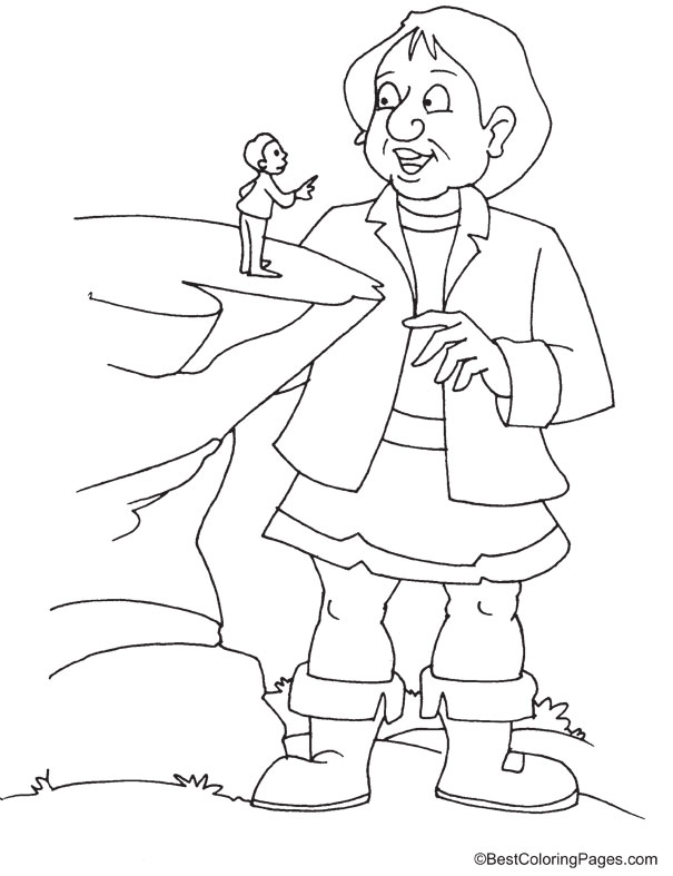 big giant talking to human coloring page