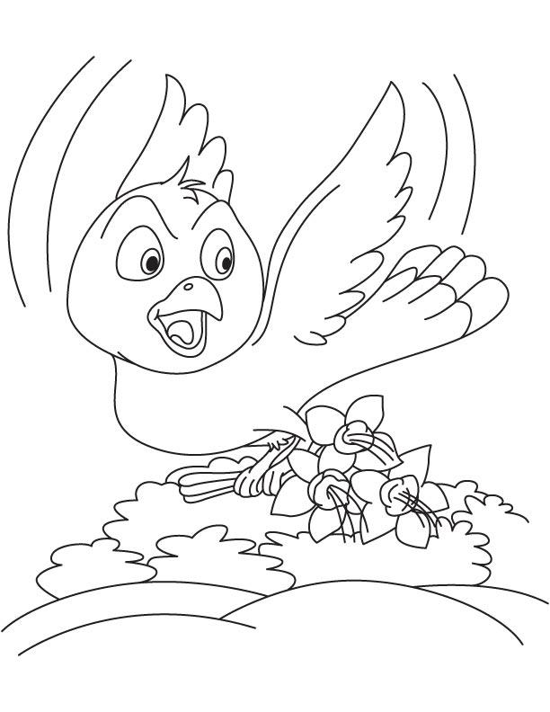 Bird taking away fuchsia flower